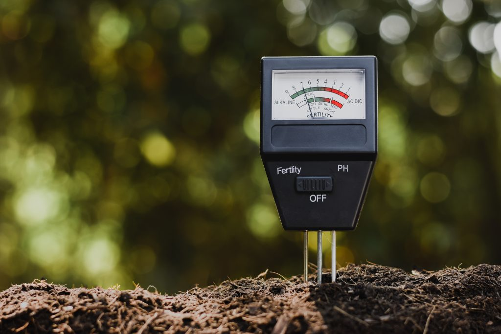 The pH meter that determines whether the soil is acidic or alkaline will demonstrate that nutrients are challenging to consume.