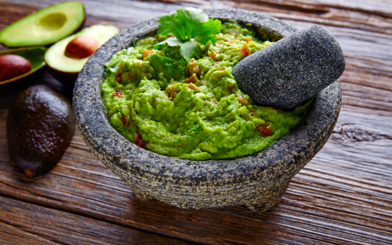 Avocado from the backyard garden used to make this guacamole with the other vegetables I grew