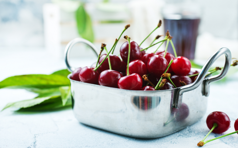 fresh cherries picked from the garden orchard