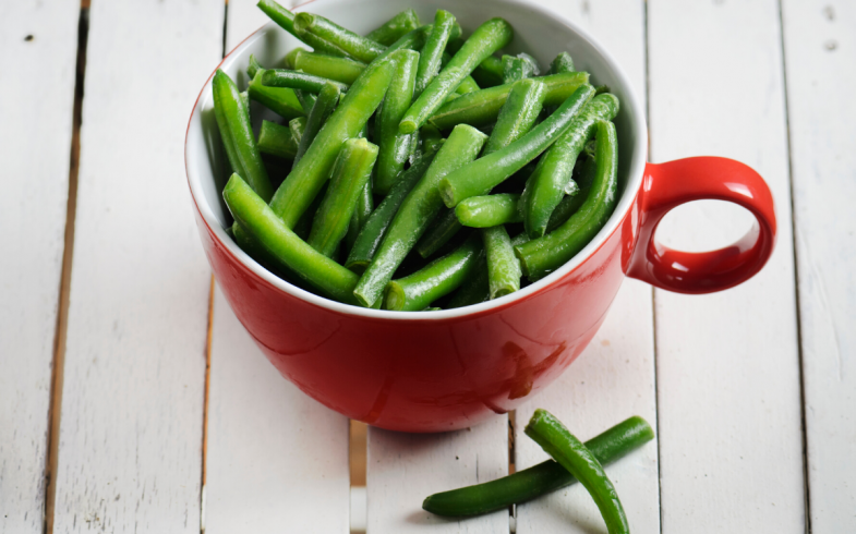 fresh green beans picked from the garden