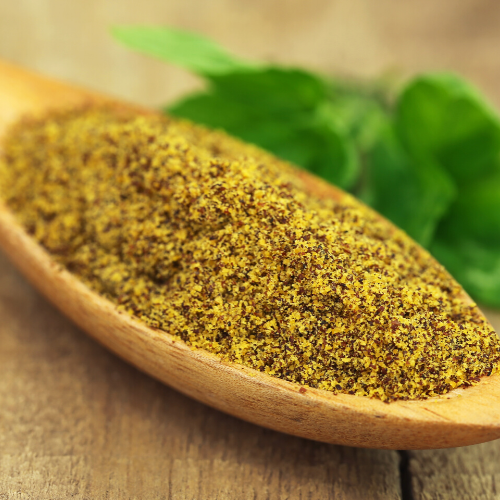 Mustard greens seeds ground down to use as a spice
